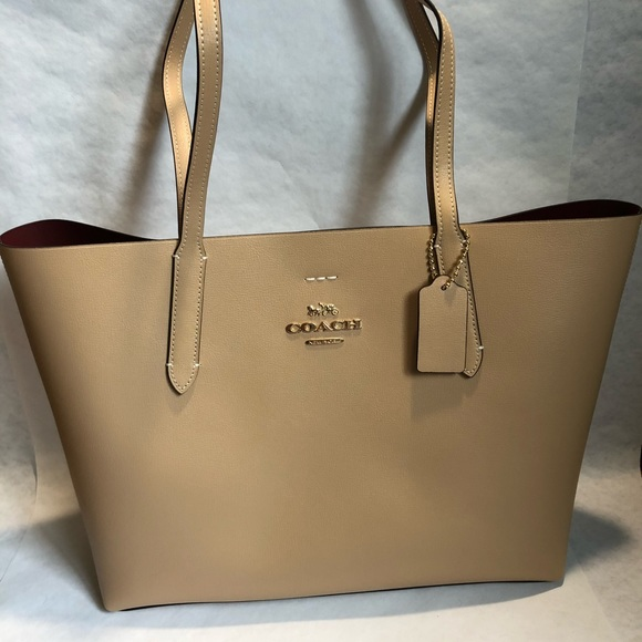 ede9a00959a6 Coach Leather Avenue Tote - Beechwood and Wine